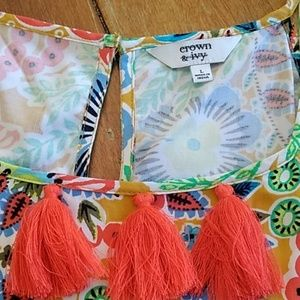 crown & ivy Tops - Crown & Ivy tank top with tassels size Large
